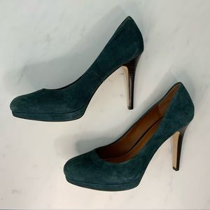Banana Republic Blue Suede Round Toe Heels SZ 8